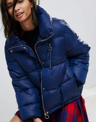 Stradivarius Puffer Jacket With Zip Detail And Detachable Hood