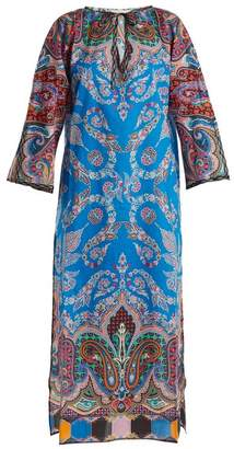 Etro Paisley Print Tie Neck Cotton Kaftan - Womens - Blue Multi