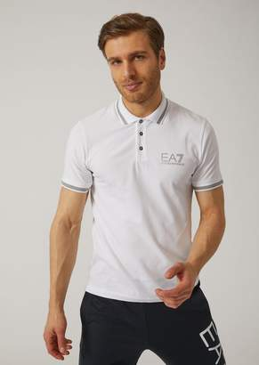Emporio Armani Stretch Cotton Jersey Polo Shirt With Ea7 Logo On The Front