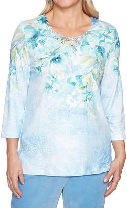 Alfred Dunner Simply Irresistable 3/4 Sleeve Round Neck Floral T-Shirt-Womens