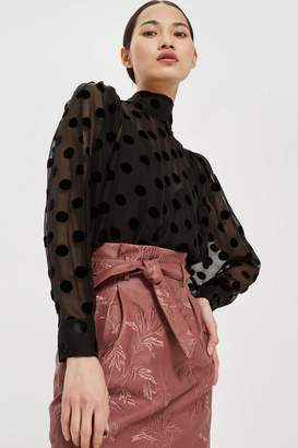 Topshop Embroidered Paperbag Mini Skirt