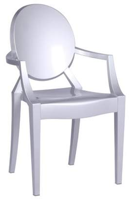 clear Fine Mod Imports Arm Chair-Color:Silver,Style:Contemporary/Modern
