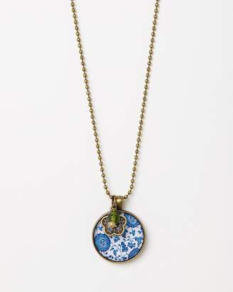 Flower Child Pendant with Olive Glass Bead & Art Deco Charm Necklace