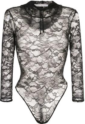 Fleur Du Mal Chat lace hooded bodysuit