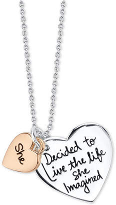 "Unwritten She"" Graffiti Heart Pendant Necklace in Two Tone Sterling Silver, 18"" Chain"