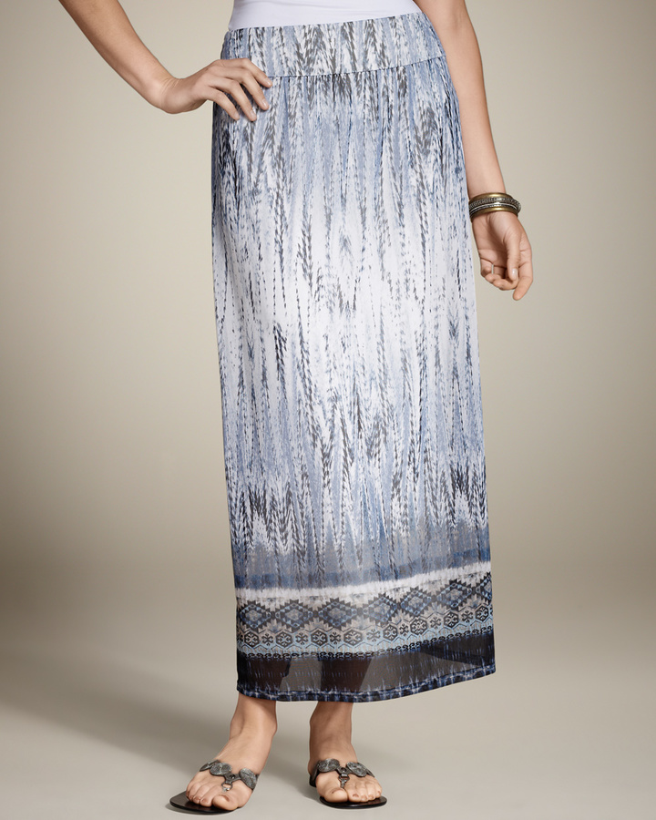 Chico's Feathered Tribal Melissa Maxi Skirt