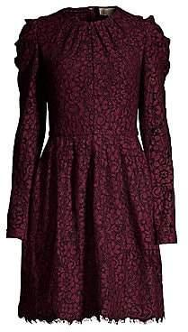 MICHAEL Michael Kors Women's Mesh Floral Lace Long-Sleeve A-Line Dress
