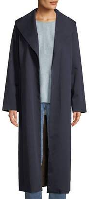Eileen Fisher Wide-Collar Twill Belted Long Coat, Plus Size