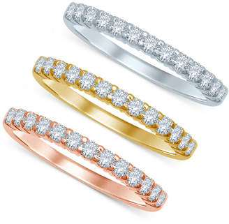 Macy's Diamond Tri-Color Stackable Bands (3/8 ct. t.w.) in 14k Gold, White Gold, and Rose Gold