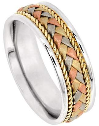 American Set Co. Men's Tri-color 18k White Yellow Rose Gold Braided 7.5mm Comfort Fit Wedding Band Ring size 7.5