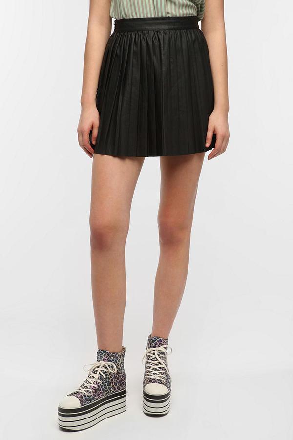 Sparkle & Fade Pleated Vegan Leather Skirt