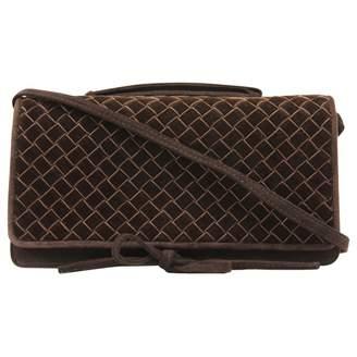 Bottega Veneta Brown Suede Clutch Bag