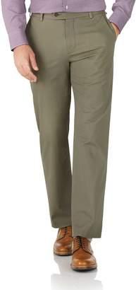 Charles Tyrwhitt Khaki Classic Fit Stretch Cotton Chino Pants Size W42 L34