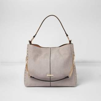 River Island Womens Grey studded chain handle slouch bag