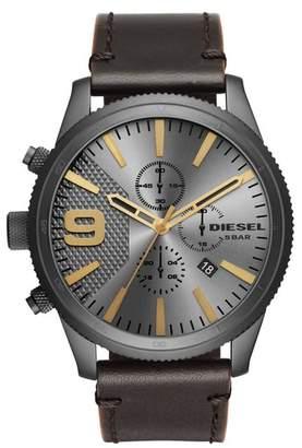 Diesel R) Rasp Chronograph Leather Strap Watch, 50mm x 59mm