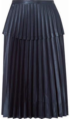 Noir Kei Ninomiya Pleated Satin Midi Skirt - Navy