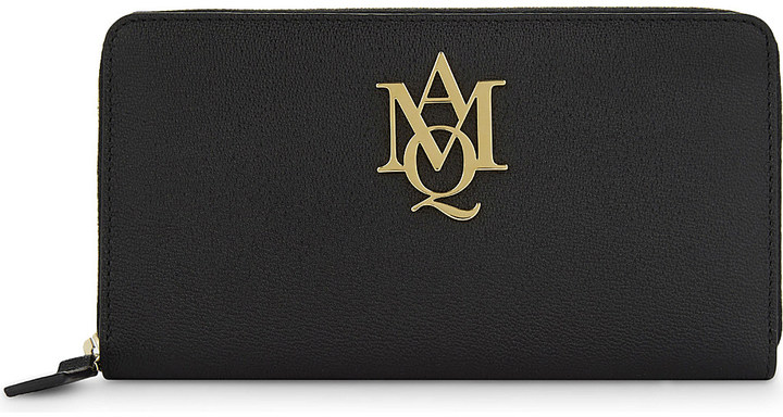 Alexander McQueen Alexander Mcqueen Amq Insignia leather zip-around purse