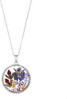 Everlasting Flowers Sterling Silver Pressed Flower Circle Pendant Necklace
