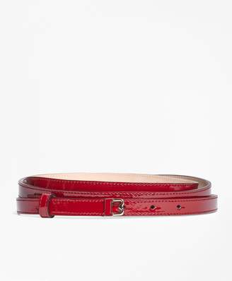 "Brooks Brothers Skinny Patent Leather ""B"" Buckle Belt"