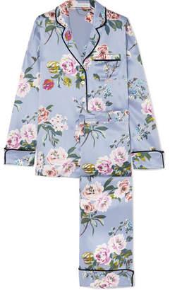 Olivia von Halle - Lila Floral-print Silk-satin Pajama Set - Sky blue