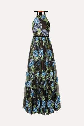 Marchesa Halterneck Embroidered Point D'esprit Gown - Black