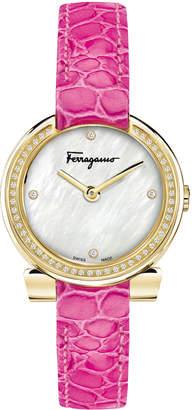 Salvatore Ferragamo 30mm Gancio Crystal Watch, Pink