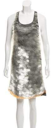 Marni Sequined Shift Dress Beige Sequined Shift Dress