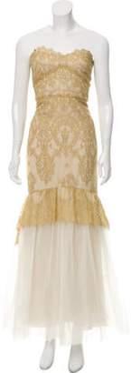 Marchesa Strapless Lace Dress Gold Strapless Lace Dress
