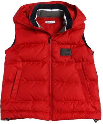 Dolce & Gabbana Hooded Logo Side Bands Nylon Down Vest