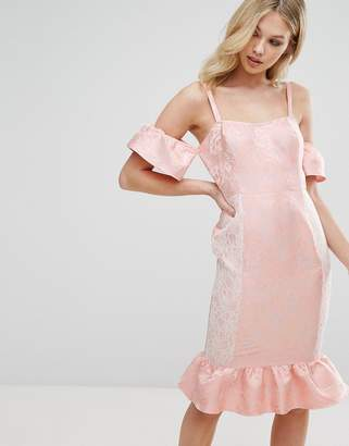 Missguided Frill Peplum Midi Dress