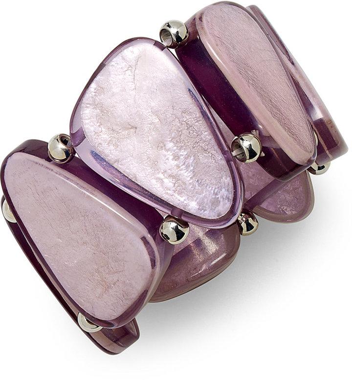 Style&Co. Bracelet, Rhodium-Plated Grey Resin Shell Stretch Bracelet
