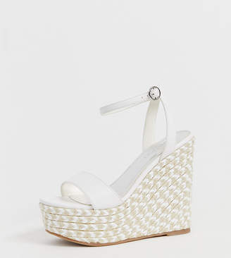 Asos Design DESIGN Wide Fit Justina espadrille wedges in white
