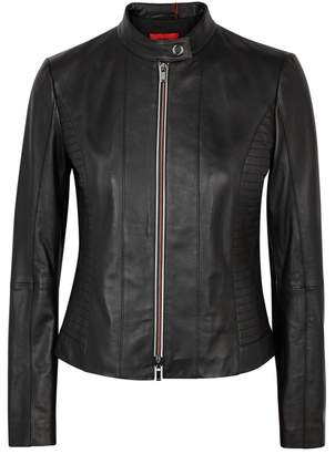 HUGO Linotte Black Leather Biker Jacket