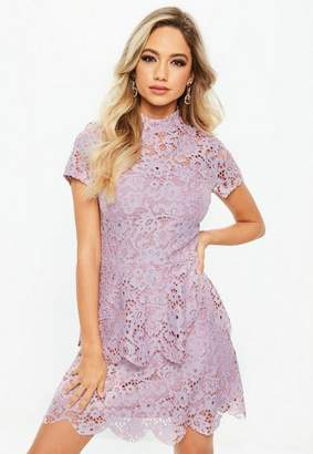 Missguided Petite Lilac Short Sleeve Lace High Neck Dress