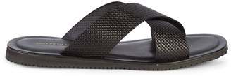 Saks Fifth Avenue Made In Italy Check-Textured Leather Slides