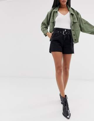 AllSaints hannah paper bag denim shorts