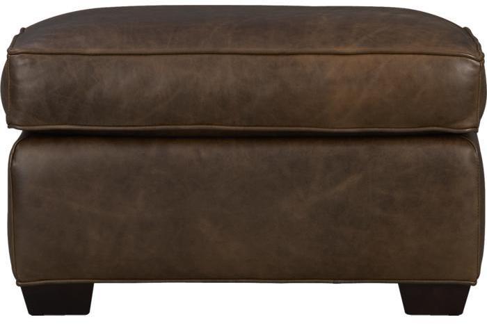 Crate & Barrel Davis Leather Ottoman