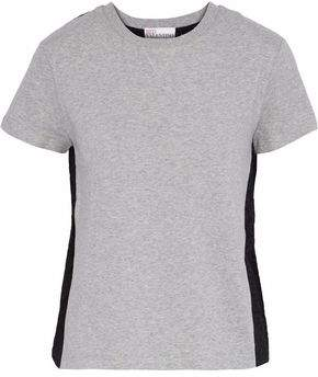 RED Valentino Broderie Anglaise-Paneled Mélange Cotton-Jersey T-Shirt