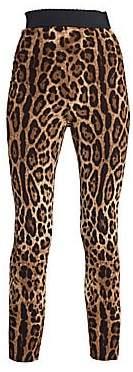 Dolce & Gabbana Women's Leopard Stretch Cady Leggings
