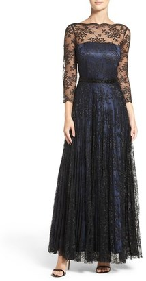 Women's Tahari Metallic Lace Fit & Flare Gown $319 thestylecure.com