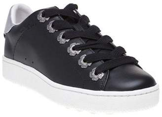 Coach New Womens Black Metallic C101 With Tea Rose Eyelets Leather Trainers Lace