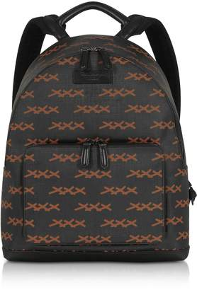 Ermenegildo Zegna Black Xxx Printed Coated Canvas And Vicuna Backpack