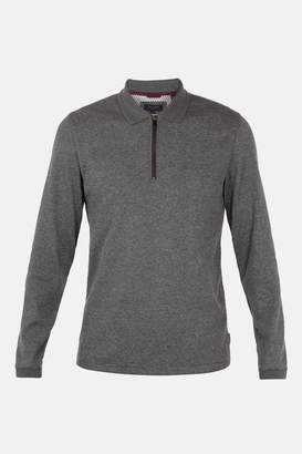 Next Mens Ted Baker Caoco Zip Neck Long Sleeve Polo