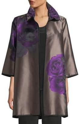 Caroline Rose Violet Rose Jacquard Topper Jacket, Plus Size