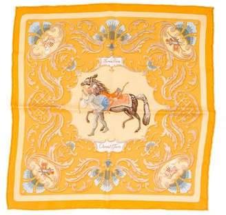 Hermes Cheval Turc Silk Pocket Square