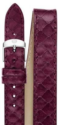 Michele Double Wrap Plum Snakeskin Strap, 16-18mm
