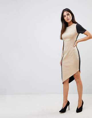 Asos Color Block Pencil Dress With Piping