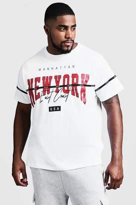 boohoo Big & Tall NY Print T-Shirt With MAN Tape