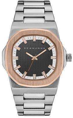Sean John MEN QUARTZ ANALOG DISPLAY TWO TONE ROSE GOLD CASE BLACK DIAL SILVER BRACELET SJ50023001