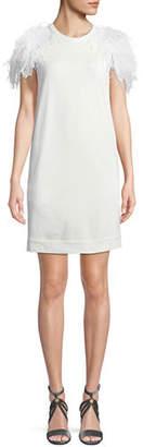 Brunello Cucinelli Jewel-Neck Cap-Sleeve Felpa Shift Dress with Feather Trim